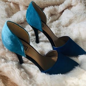 "Color block faux suede 4"" heels"